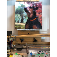 Rat Terrier Painting on Easel 686