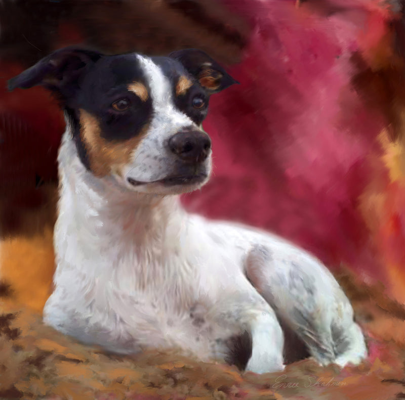Rat Terrier Custom Painted Dog Portrait