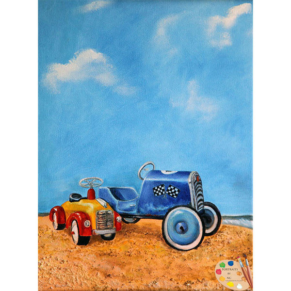 Beach Toy Painting Sand Dune Racers Print 158 - Portraits by NC