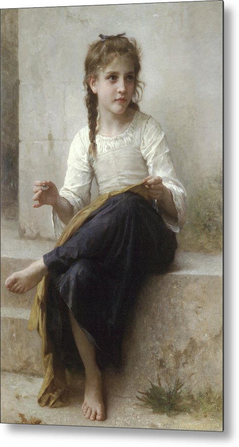 Sewing By Adolphe-William Bouguereau - Metal Print