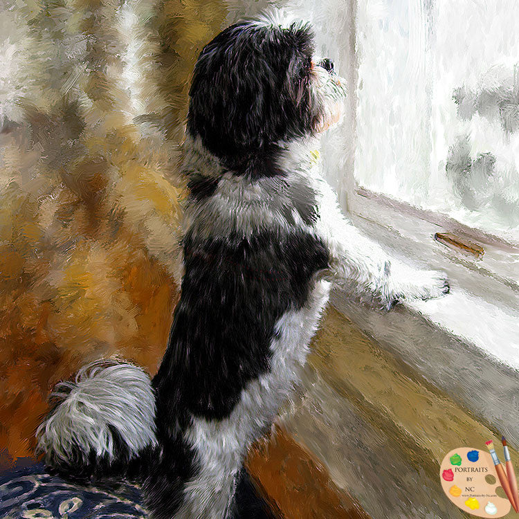 Shih Tzu by window painting