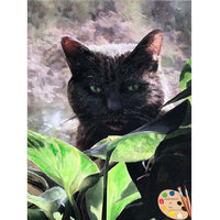 Cat with Plant Painting