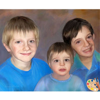 Siblings Portrait Brotherly Love Painting 301
