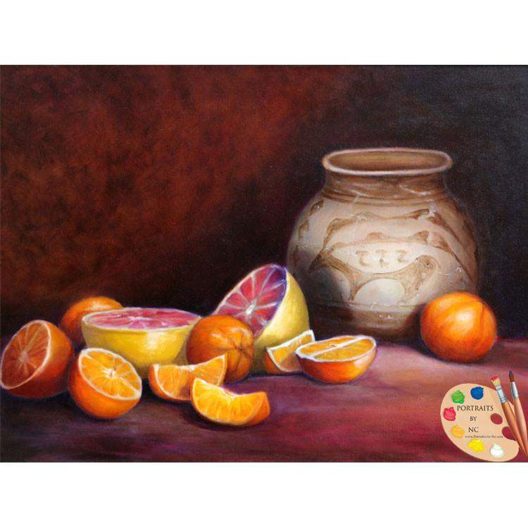 Still Life Painting Citrus and Iranian Jar 55
