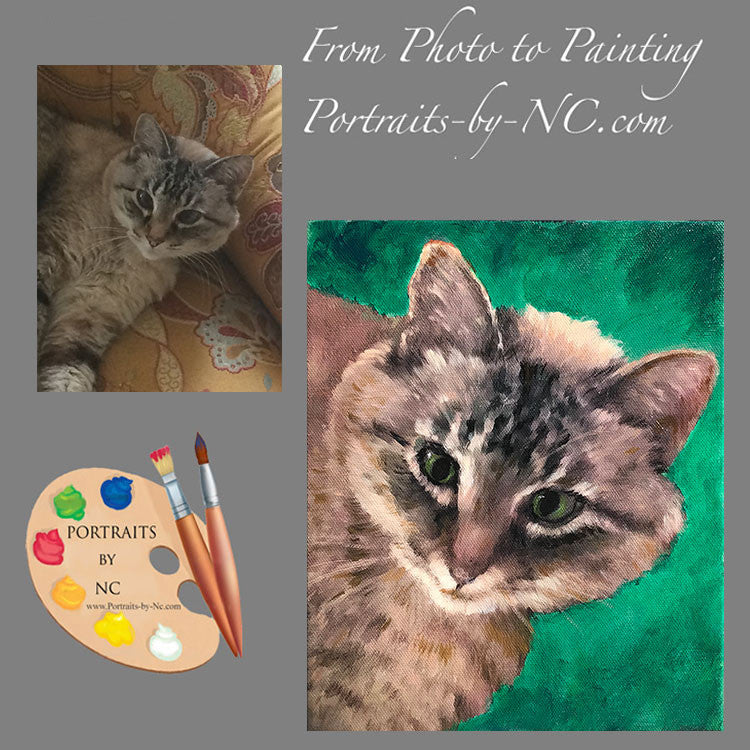 Tabby Cat Portrait from Photo 503