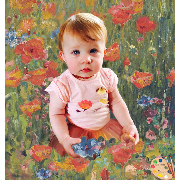 Toddler Painting Girl Picking Flowers 272