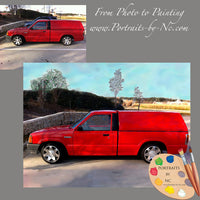 Red Truck Custom Painting from Photo 627