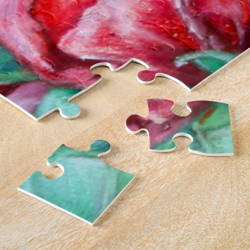 Red Tulip Puzzle Pieces