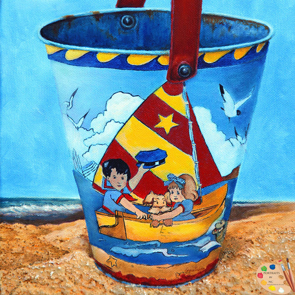 Painting of Vintage Sand Bucket 157