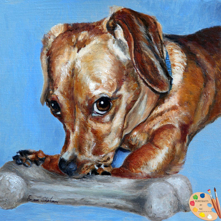 Wiener Dog Portrait Love them Bones 161
