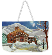 Weekender Tote Bag - Customizable Carry All Tote - Winter At The Cabin Design