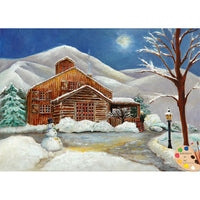 Winter Cabin Landscape Painting 171