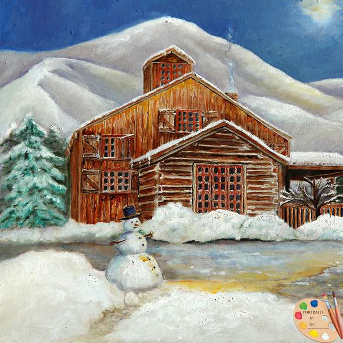 Winter Cabin Painting 171