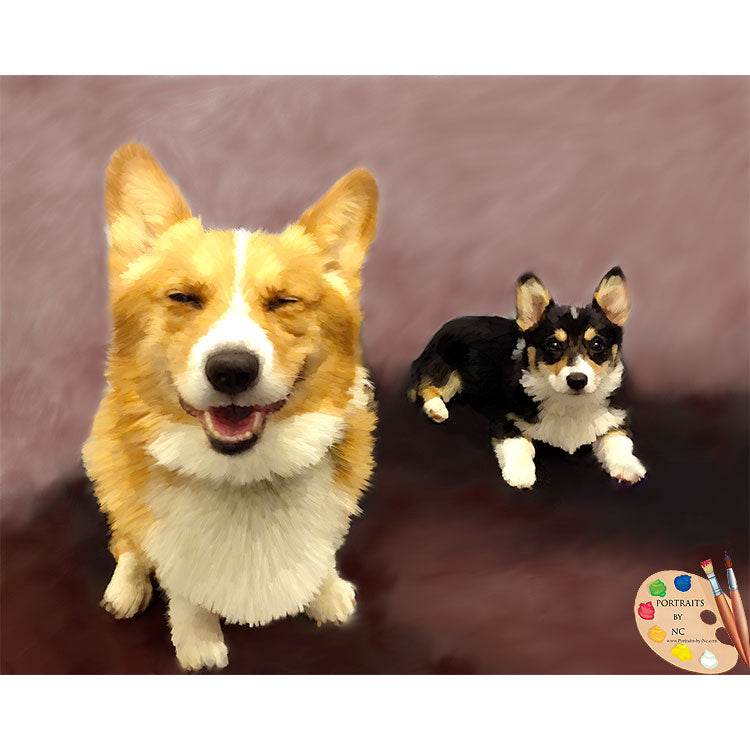 Custom Pet Portrait - Dog Portrait - Corgi Group Portrait - Digital Portrait