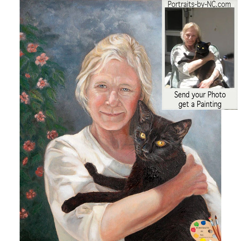 Woman with black cat oil portrait