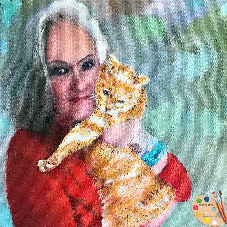 Woman with Tabby Cat Portrait