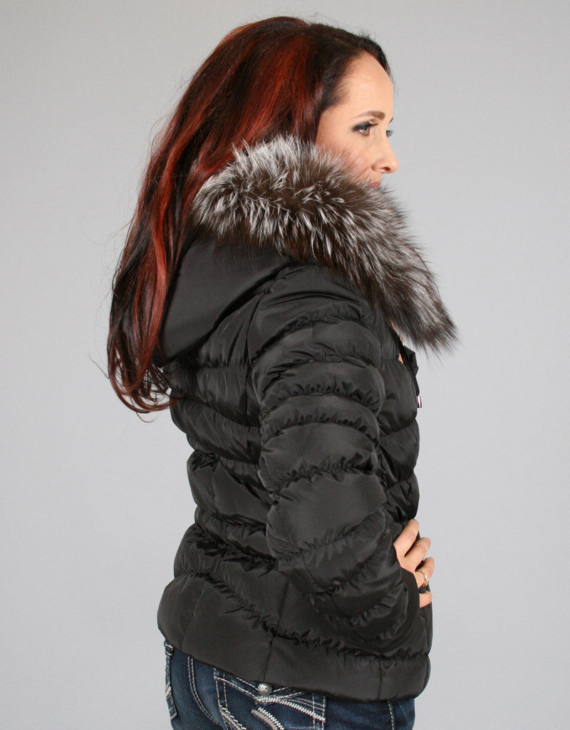Down Filled Fitted Jacket-Black Silver