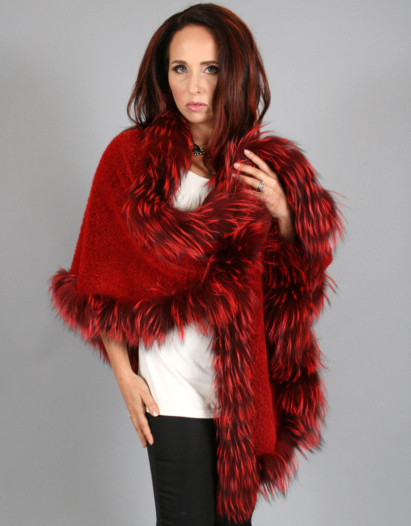 Fur Whip Alpaca Cape-Red/ Red Dyed Silver Fox