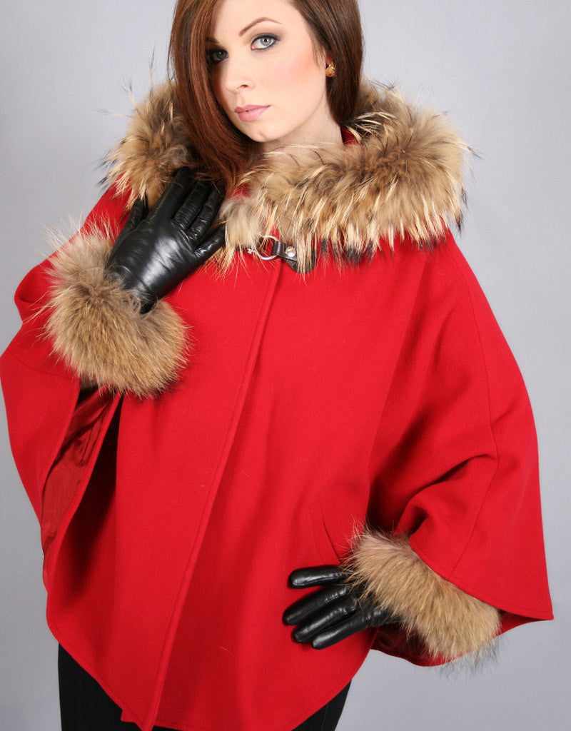 Buckle & Leather Detail Hooded Cape-Red