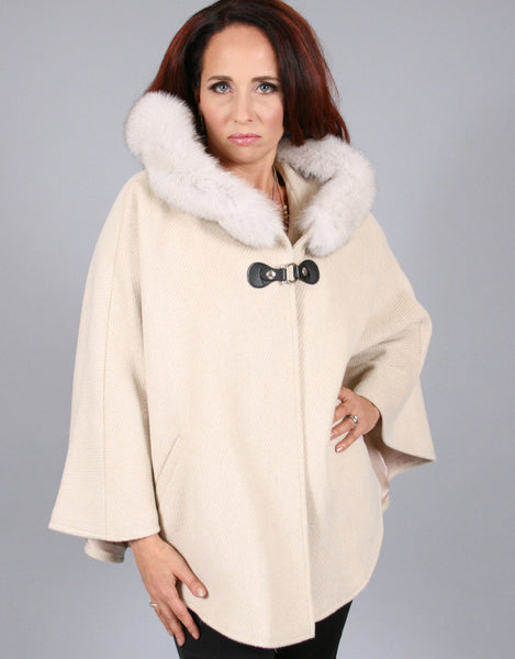 Buckle & Leather Detail Hooded Cape-Cream