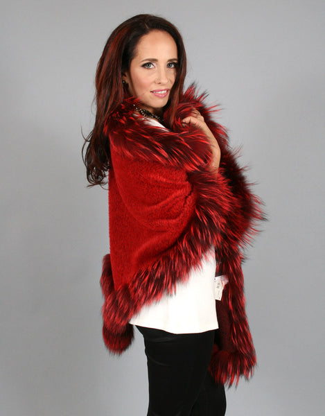 Fur Whip Alpaca Cape-Red/ Red Dyed Silver