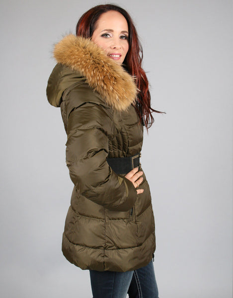 Down Filled Fitted Jacket with Flare-Khaki