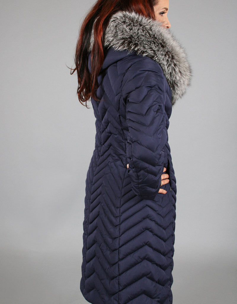 Down Filled Chevron Quilted Coat-Navy