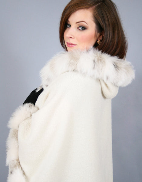 Full Band Hooded Alpaca Cape-White