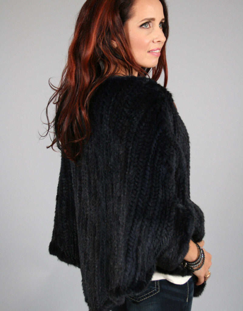 Knit Mink Poncho - Black