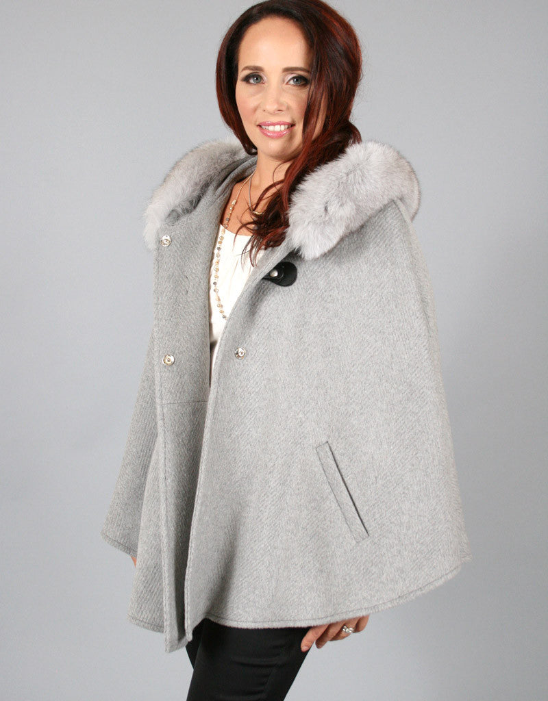 Buckle & Leather Detail Hooded Cape - Grey