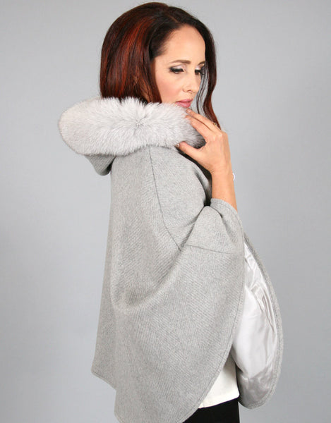 Buckle & Leather Detail Hooded Cape-Grey
