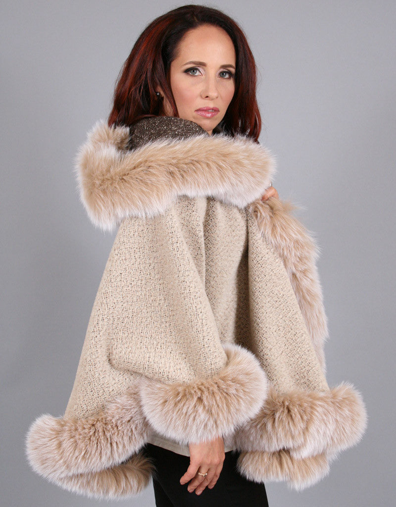 Full Band Hooded Alpaca Cape-Grey