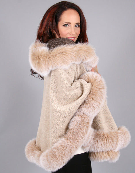 Full Band Hooded Alpaca Cape-Beige