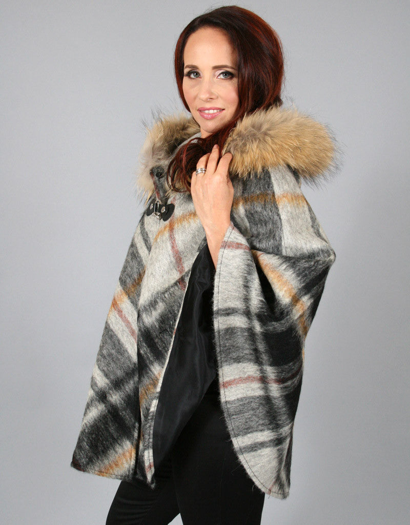 Buckle & Leather Detail Hooded Cape-Amber Plaid