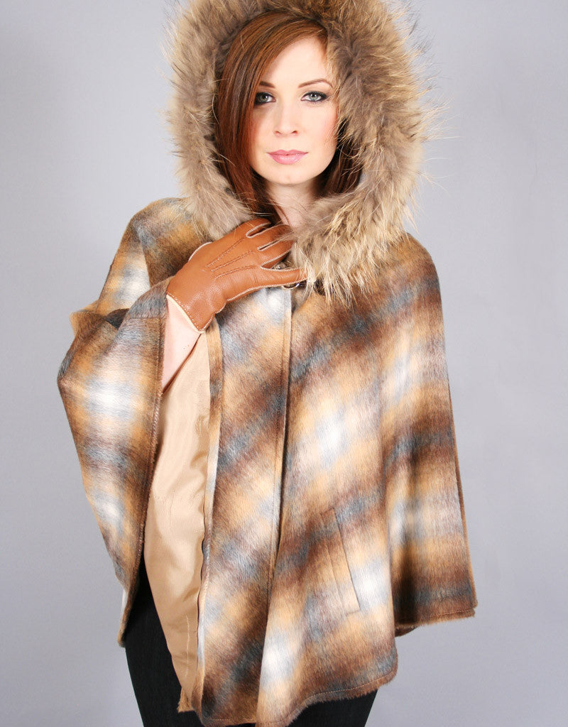 Buckle & Leather Detail Hooded Cape-Grey Plaid