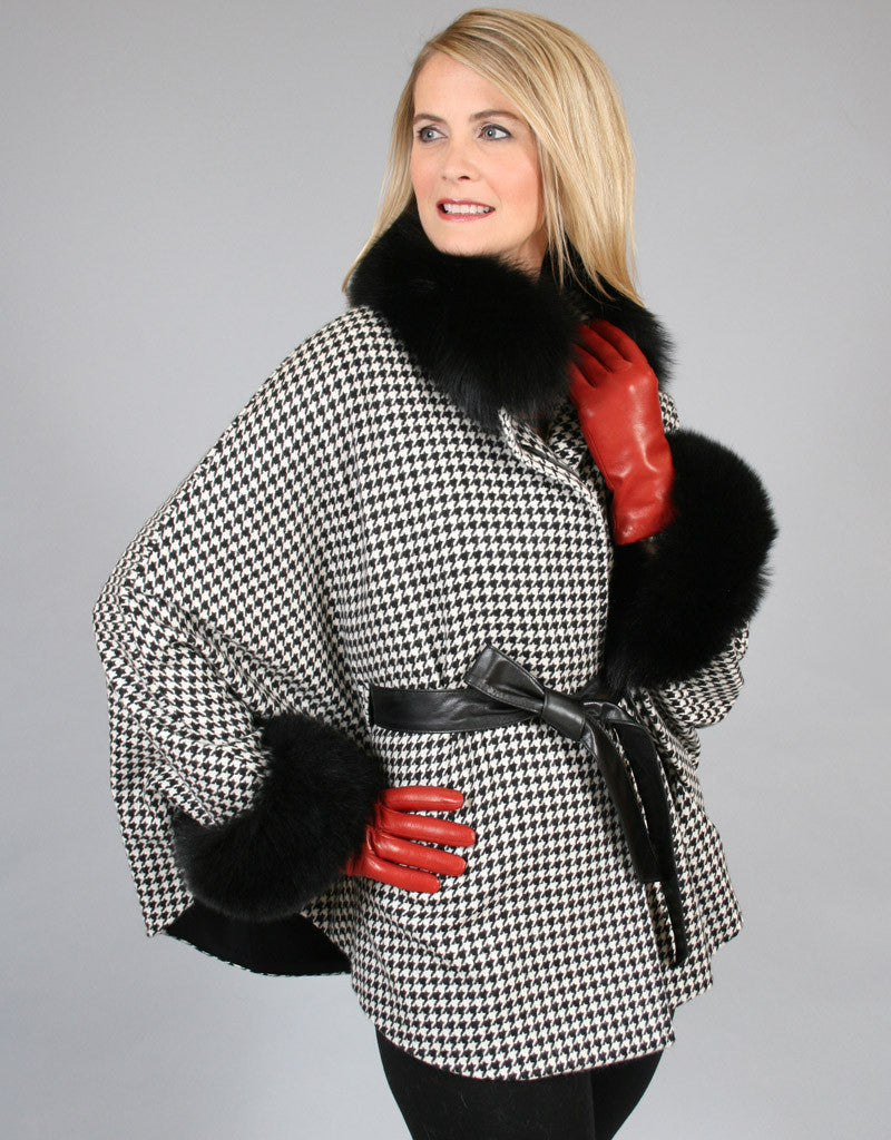 Belted Cashmere Cape/ Jacket-Houndstooth