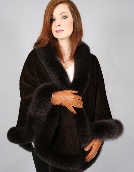 Medium Round Alpaca Cape-Brown