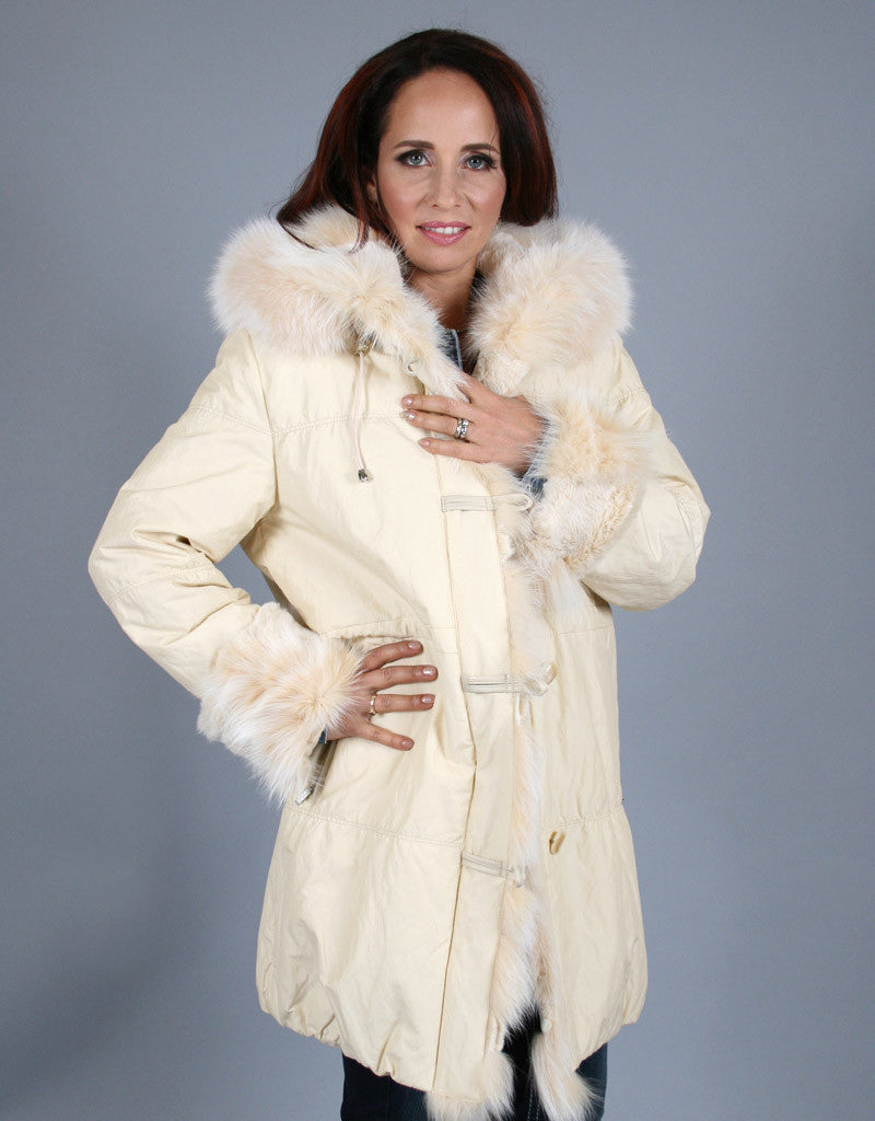 Rabbit Lined Carcoat with Detach Hood-Vanilla