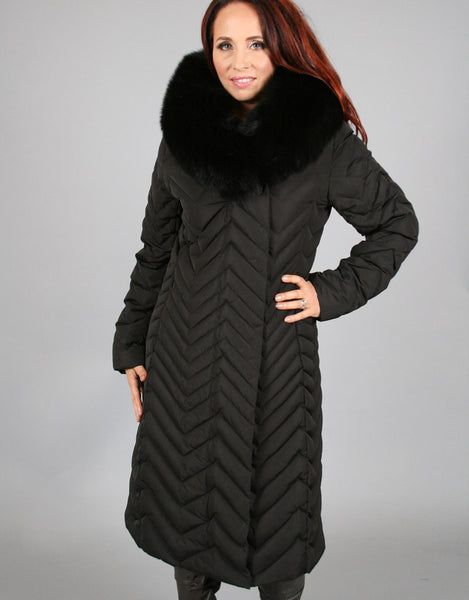 Down Filled Chevron Quilted Coat-Black