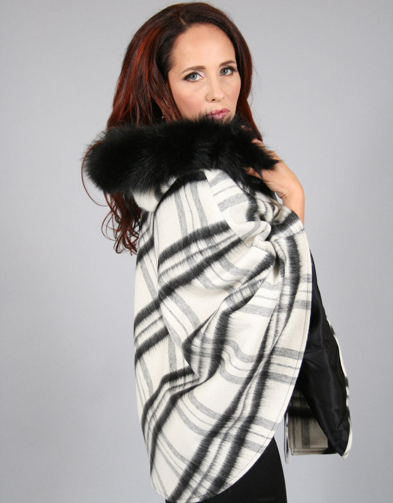 Buckle & Leather Detail Hooded Cape-Black White Plaid