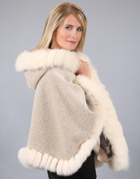 Fox Whip Hooded Petite Cape-Melange
