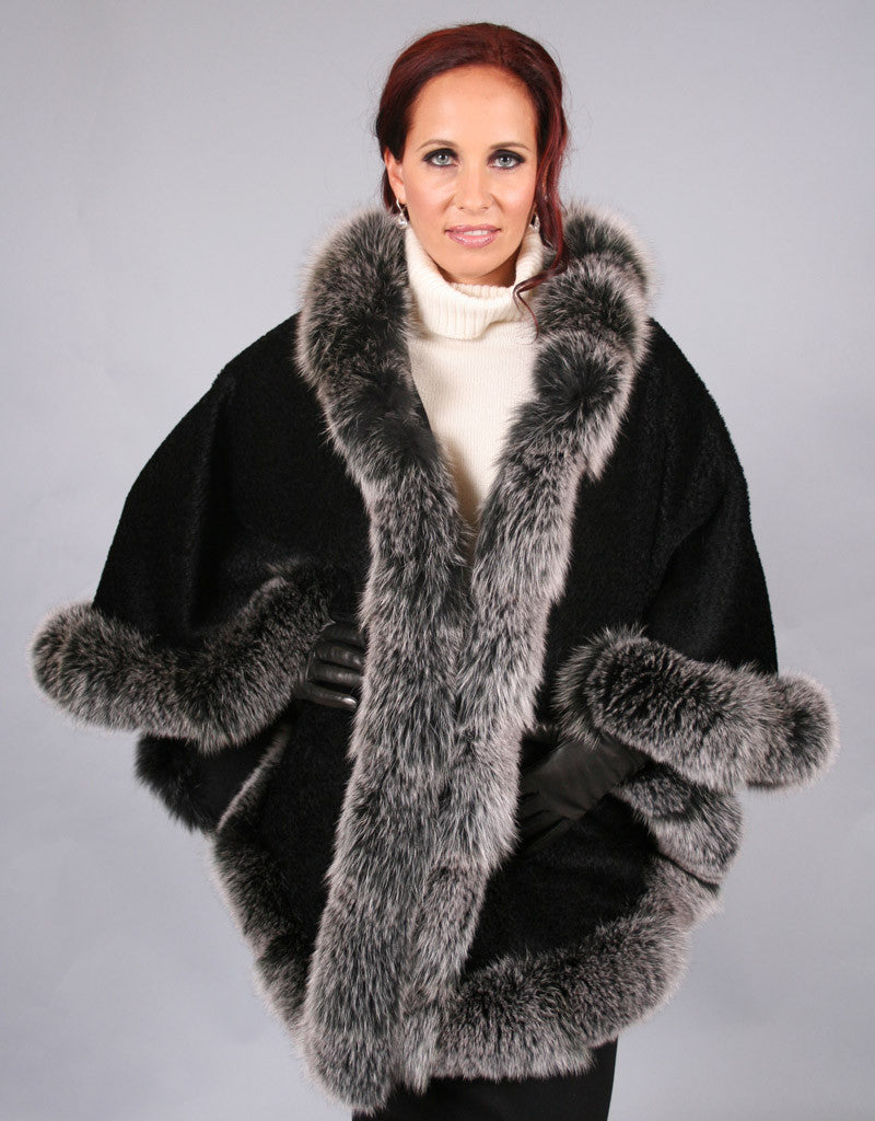 Full Band Hooded Alpaca Cape-Black Snow