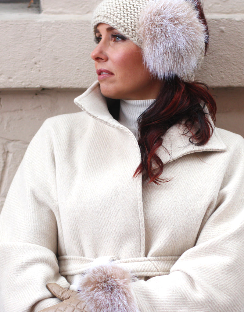 Knit Headband with Button and Fox Detail - Ivory
