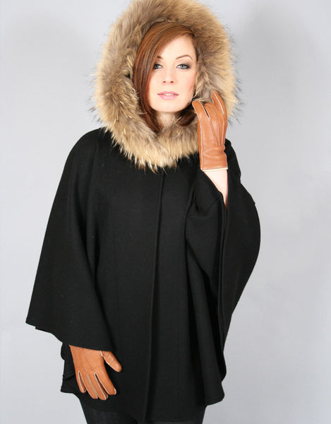 Buckle & Leather Detail Hooded Cape- Black
