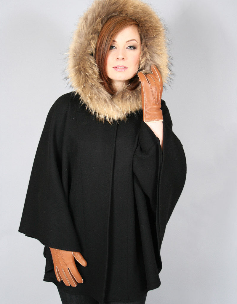 Buckle & Leather Detail Hooded Cape - Cream