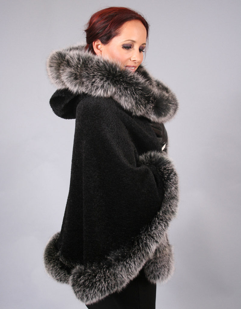 Full Band Hooded Alpaca Cape-Black