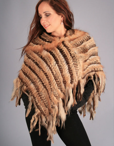 Fringe Woven Poncho with Leather Detail-Brown Natural