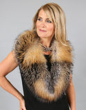 Lux Fur Collar- Crystal Dyed Silver