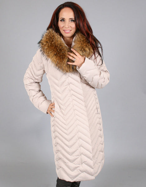 Down Filled Chevron Quilted Coat-Blush