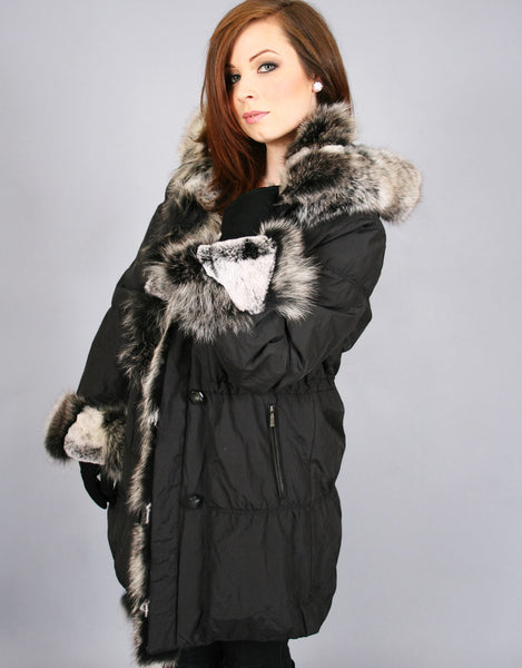 Fur Lined Carcoat with Detach Hood-Black